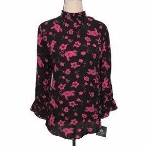 Fortune + Ivy | Farron smocked mockneck blouse